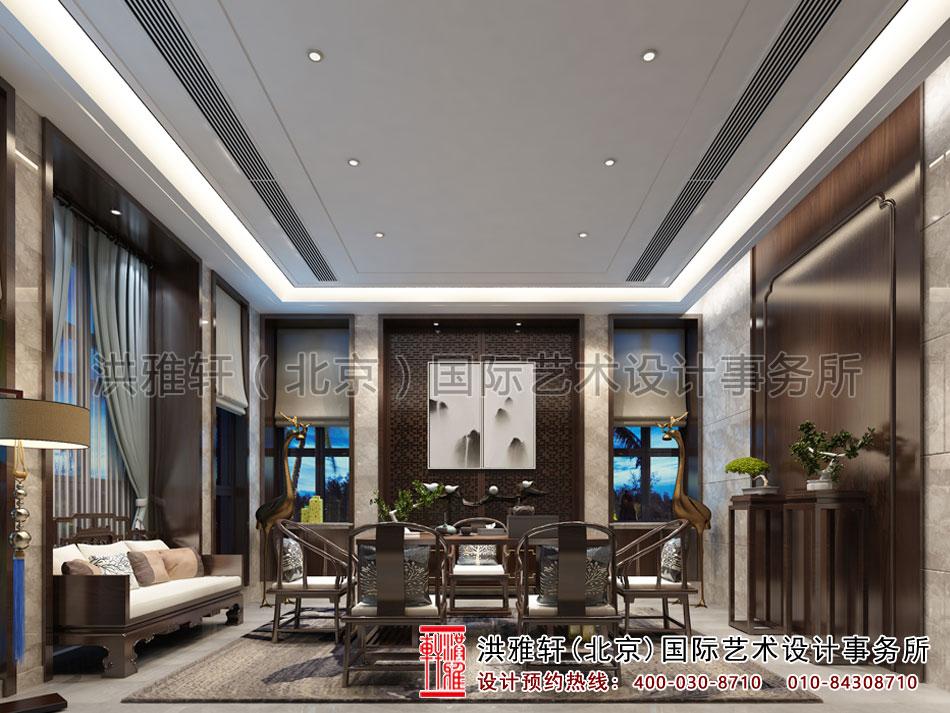 茶会所中式设计茶室一角效果图