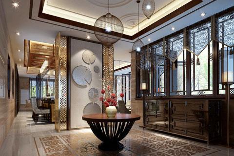 北京湾中式别墅装修案例,风格浓郁手法细腻委婉