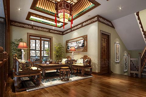 安徽别墅古典中式装修,追求含蓄端庄的东方式情调