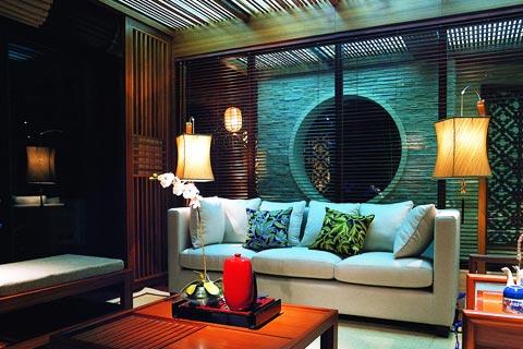 现代简约客厅中式设计效果图