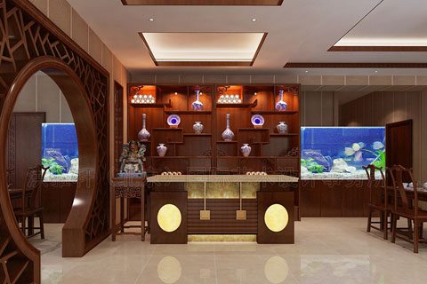 中式风格酒店前台设计图片