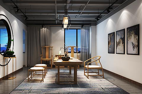 禅意风格办公室装修效果图 中式禅意设计办公室装修图赏析