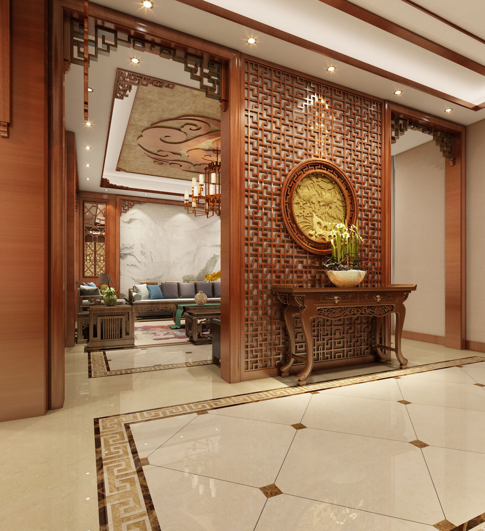 本套图片来源于站酷 是一套别墅新中式装修效果图