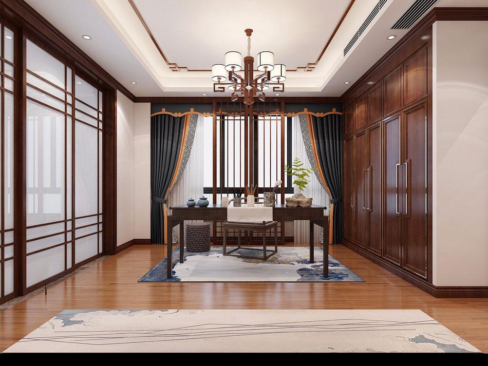 本套图片来源于建e网 是一套别墅新中式装修效果图