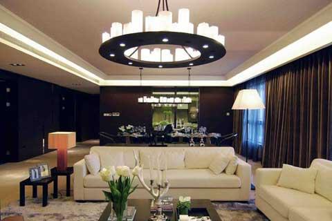 现代中式风格客厅设计实景图
