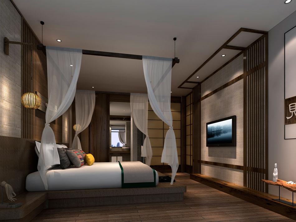 本套图片来源于猪八戒 是一套酒店禅意风格装修效果图