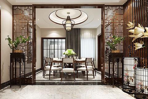 新中式设计别墅装修效果图 别墅中式装修图赏析