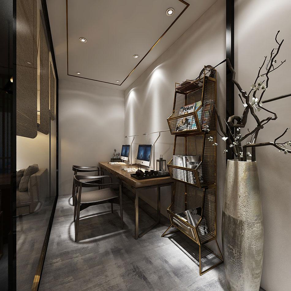 > 个人工作室办公区域现代中式风格装修效果图