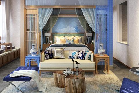 北京某四合院民宿月色蓝玫瑰主题客房VR全景效果图