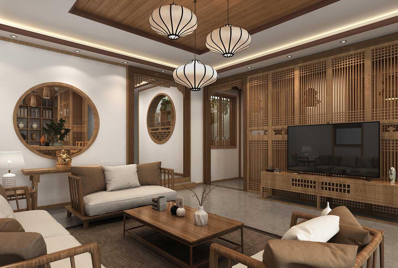 > 原木色新中式风格别墅空间中式装修效果图