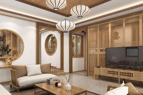 原木色新中式风格别墅空间中式装修效果图