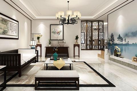 新中式风格禅意家装客厅设计效果图欣赏