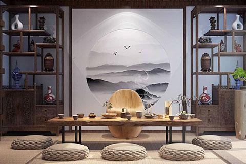 中式茶楼茶室设计效果图  竹韵幽然