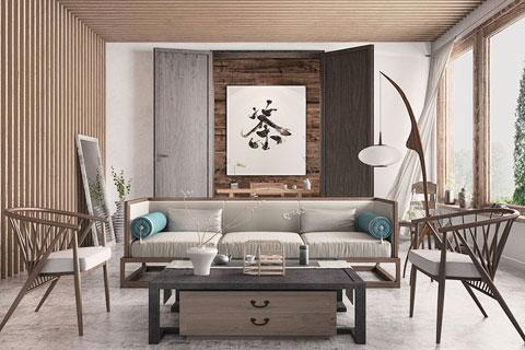中式家装空间之客厅中式风格设计效果图