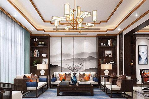 别墅中式装修之客厅设计效果图集锦