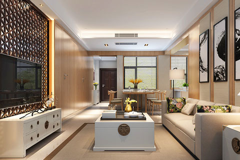 中式家装空间之客厅中式风格设计效果图(二)