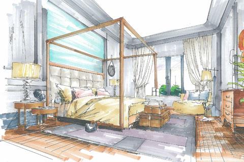 中式家装空间设计之空间手绘图