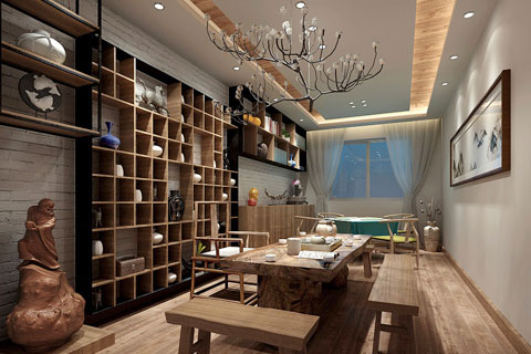 禅意风格茶展厅中式设计效果图