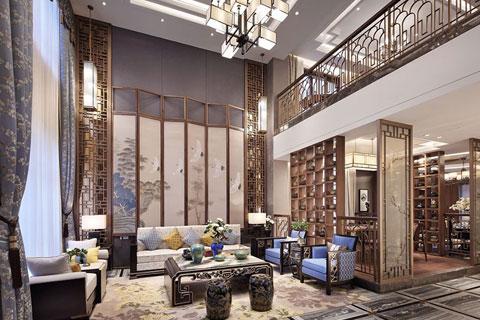 别墅样板房新中式装修效果图 新中式风格别墅装修效果图