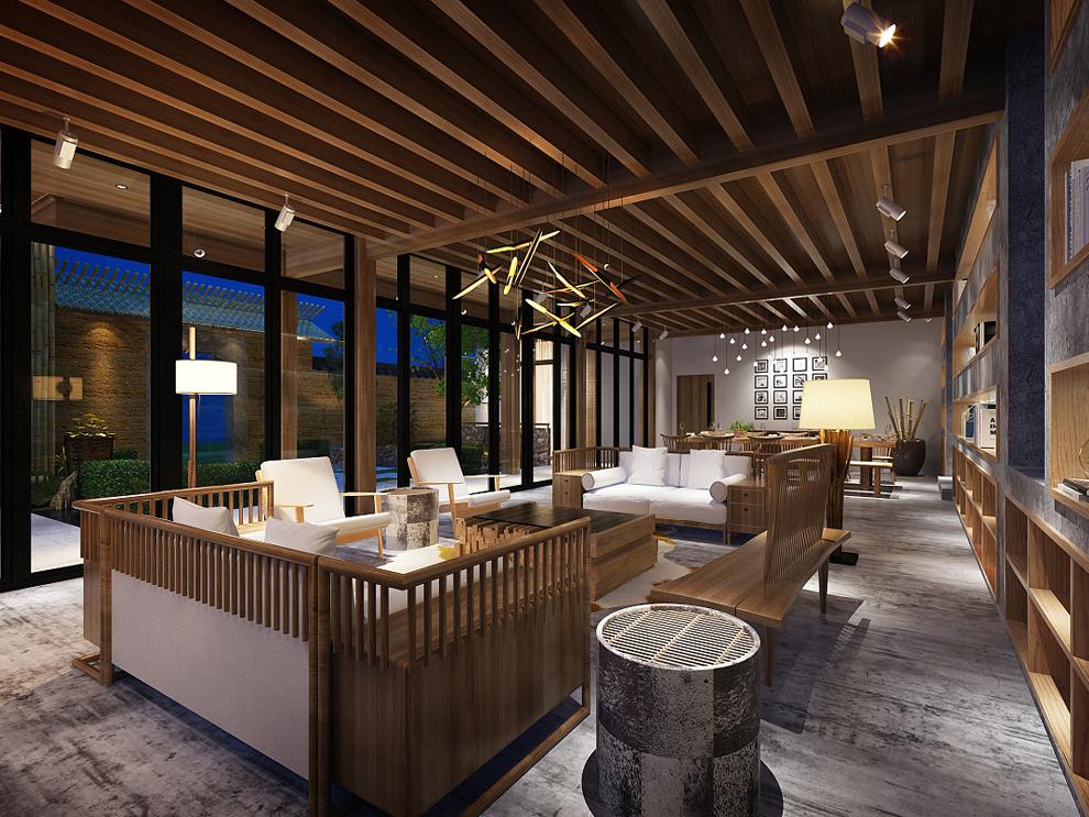 简单大气的新中式风格民宿装修效果图方案