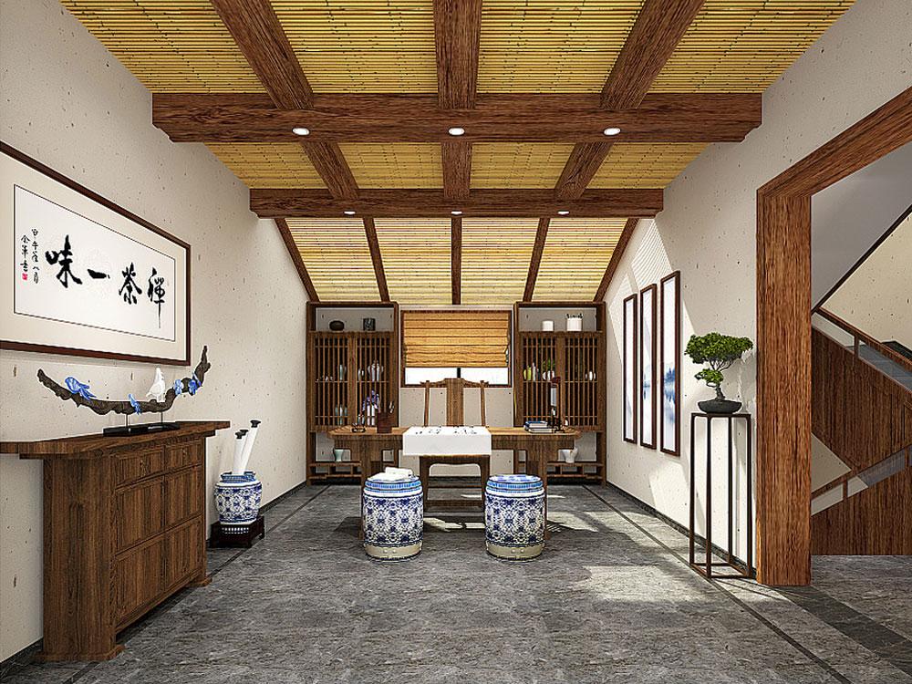 原木色新中式禅意风格民宿装修效果图