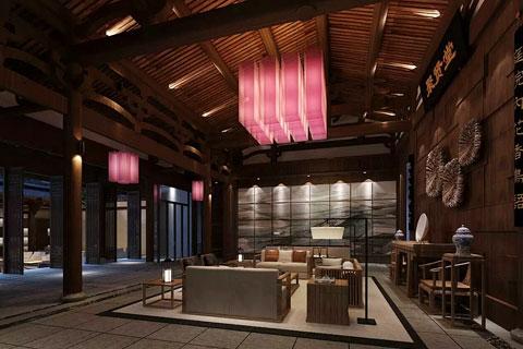 感受古典中式元素文化,民宿酒店空间设计效果图