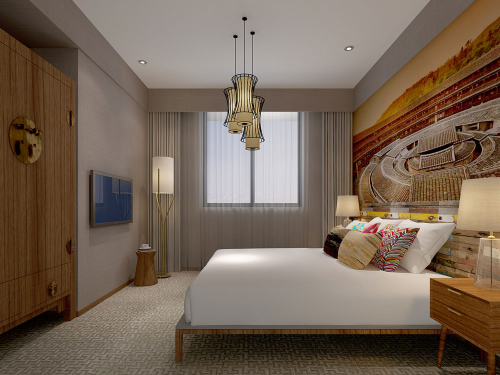 原木色新中式民宿装修风格效果图设计方案