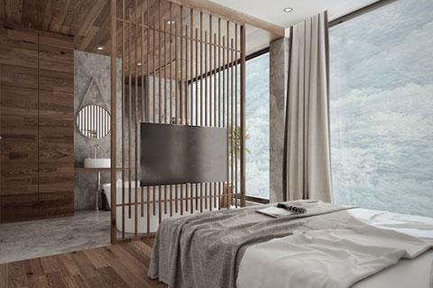 新中式极简主义民宿装修效果图 民宿设计图片赏析