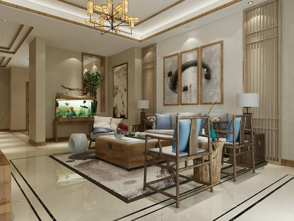 新中式风格木元素别墅室内客厅装修效果图