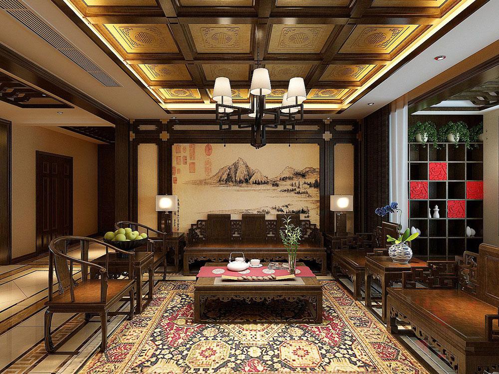 > 豪华大气的古典中式风格别墅装修效果图