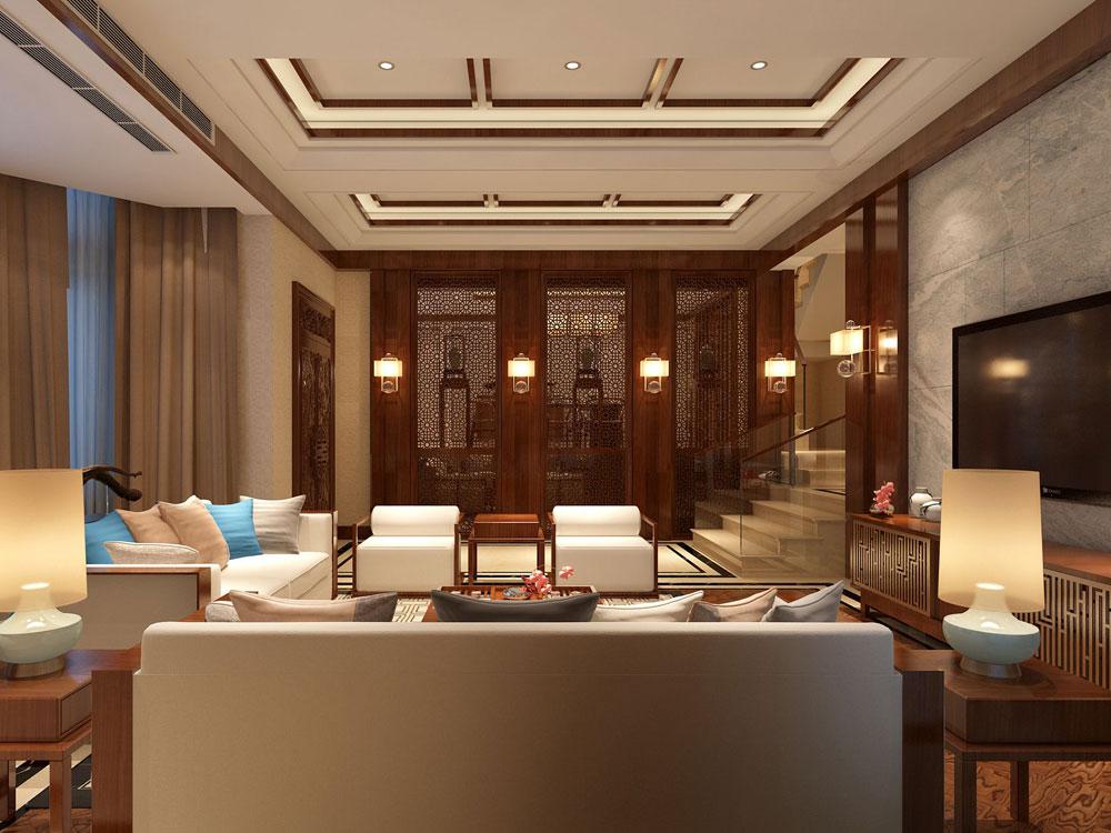 豪华大气的古典中式风格别墅装修效果图