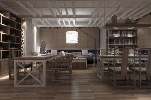 古典中式禅意会所前台,楼梯,茶室,会议室装修设计图片