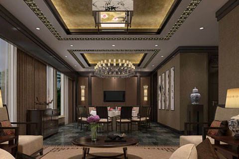 北京海淀800平新中式会所走廊,休息室,客厅等套图