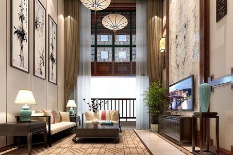 江苏别墅装修设计、现代新中式别墅室内设计效果图