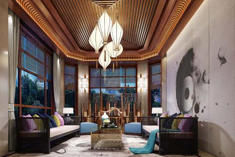 古典风格纯木家具酒店中式装修设计效果图
