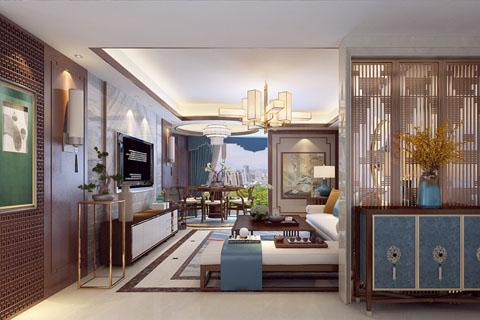 高端大气新古典中式别墅中式装修效果图图片