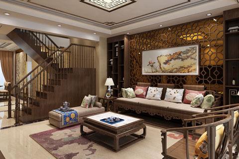 新中式350平别墅装修设计效果图