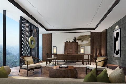江苏560平古典禅意中式设计酒店装修效果图