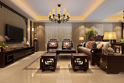 北京新中式别墅古典风格装修设计效果图