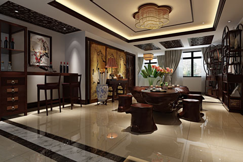 别墅茶室、客厅、餐厅中式装修效果图