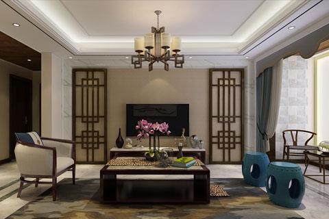 石家庄新中式家装182平装修效果图中式风格