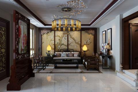 高碑店280平古典中式家装装修设计效果图
