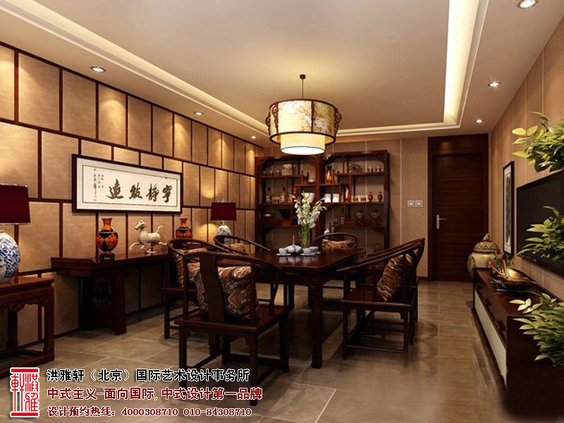 """构建东方古典韵味的中式室内空间,是现代中国人挥之不去的文化情结。中式设计,锤炼中国文化之精髓,以深厚博大的设计领悟,精心打造人们心中至高无上的生活境界。 本案位于湖北武汉的中式家装风格,设计巧纳中国美学于空间构筑中,又以现代人审美思想为核心,中式元素与现代材质巧妙结合,新颖时尚与传统古典合并为一,将传统意识进行变化,组合,优化,并融合到设计之中,谱写出拥有独特情怀的高阶品质生活。  中式家装空间设计,崇尚""""贵精不贵丽,贵新奇大雅,不贵纤巧烂漫""""的设计美学,讲究居室的舒适与雅致。其在"""