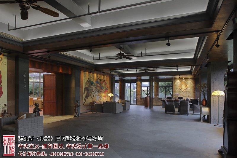 会所中式设计大厅效果图