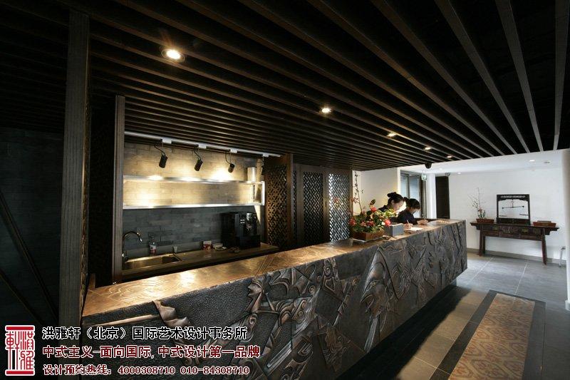 古典石雕造型的吧台设计,显得酒店气势高雅-主题酒店中式装修,表