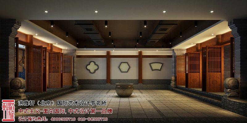 郑州酒店餐厅中式设计走廊图