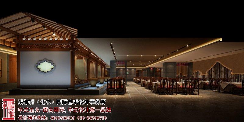 郑州酒店餐厅中式设计大厅效果图
