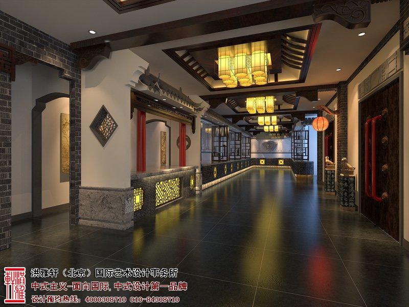 酒店走廊一侧中式设计