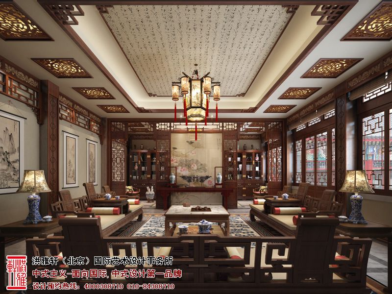四合院书房中式装修图片
