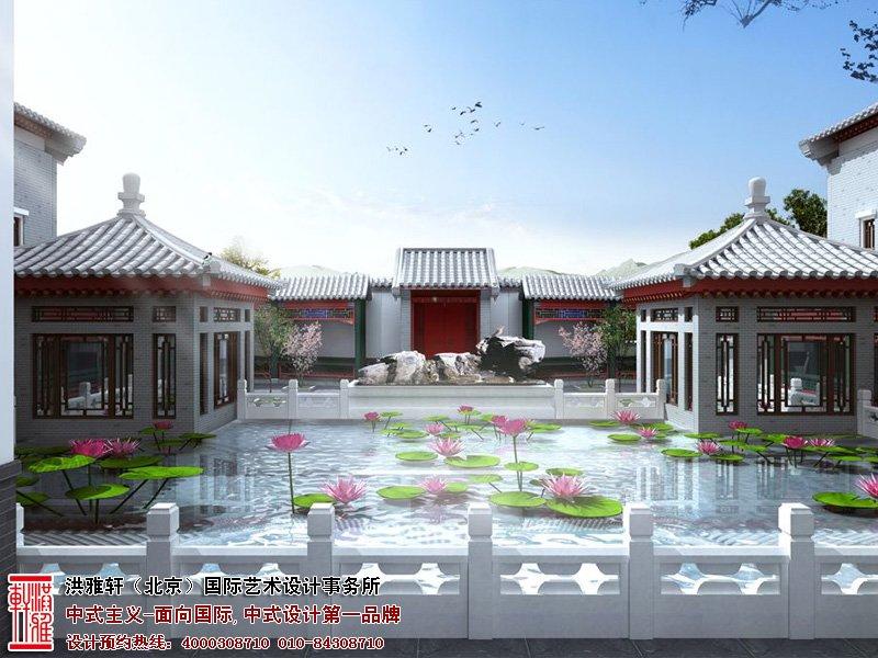 自建别墅庭院内池塘设计图片